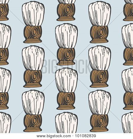 Barber brush. Seamless pattern with doodle old-fashioned brushes. Hand-drawn background. Vector illu