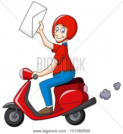 Delivery man on scooter holding an envelope