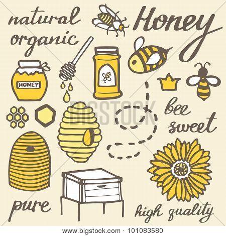 Honey set.  Hand-drawn doodle beekeeping elements.