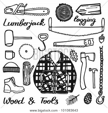 Lumberjack set, wood and tools. Hand-drawn cartoon logging stuff. Doodle drawing.