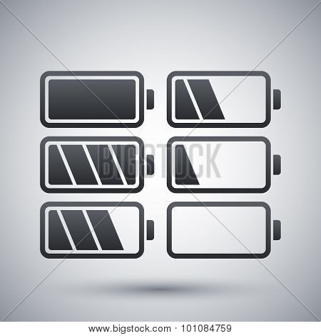 Battery Icons Set, Vector Illustration