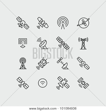 Vector Orbit Satellite Dish Communication icons