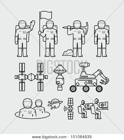 Vector Astronauts Exploration Space Station Icons