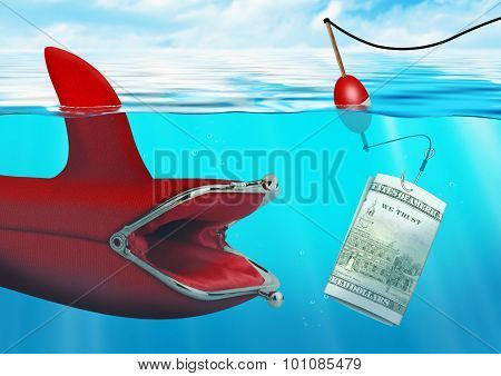 Business Risk Concept, Money Bait Catch The Purse At Ocean
