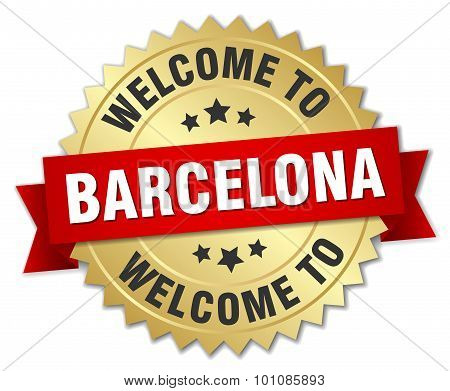 Barcelona 3D Gold Badge With Red Ribbon