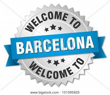 Barcelona 3D Silver Badge With Blue Ribbon