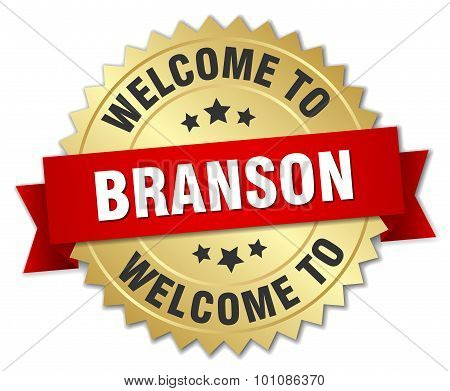 Branson 3D Gold Badge With Red Ribbon