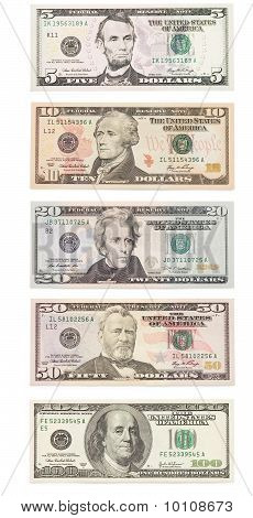 American Dollar Banknote Isolated Over White. Set