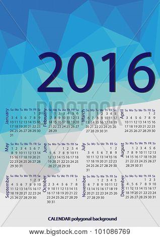 Simple 2016 Calendar / 2016 Calendar Design / 2016 Calendar Vertical - Week Starts With Sunday
