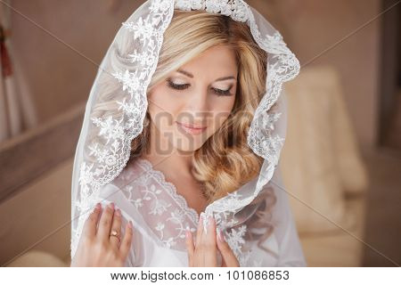 Beautiful Smiling Bride In Wedding Veil. Beauty Portrait. Happy Girl In Wedding Day.