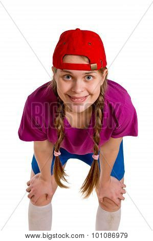 Sports Girl Isolated On The White