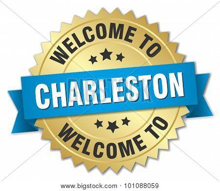 Charleston 3D Gold Badge With Blue Ribbon