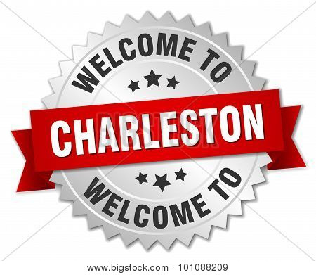 Charleston 3D Silver Badge With Red Ribbon