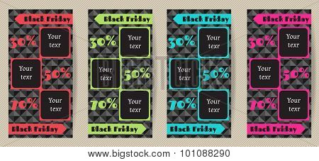 Set Vertical Advertising Flyers For Black Friday Sales. A Set Of Vertical Banners Black Friday Sale.