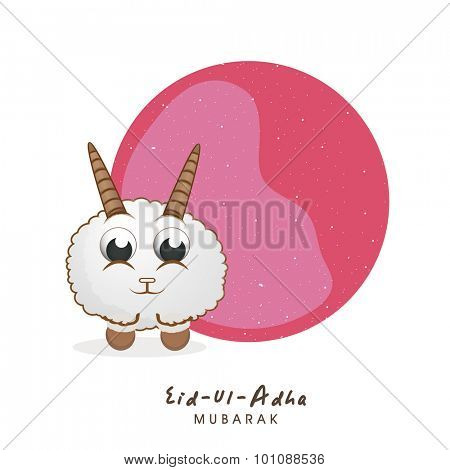 Cute little sheep with stylish blank frame for Islamic Festival of Sacrifice, Eid-Ul-Adha celebration.