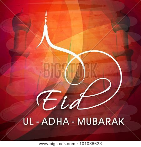 Elegant greeting card design with Mosque for Islamic Festival of Sacrifice, Eid-Ul-Adha Mubarak celebration.