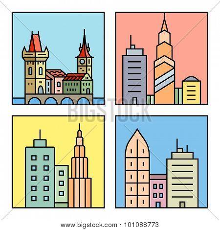 Urban vector city skyline and buildings. Cityscape icons. Vector city skyline and buildings