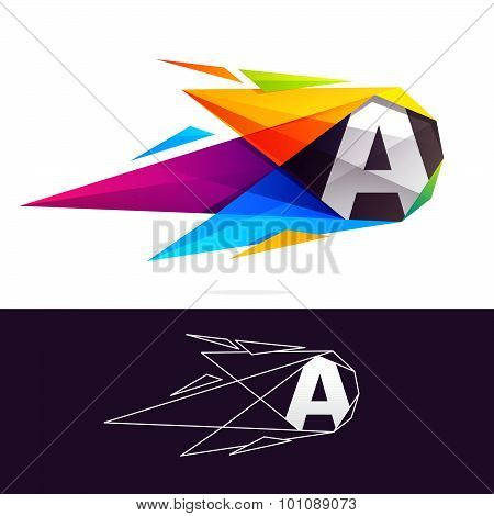 Letter A Logo With Polygonal Comet.