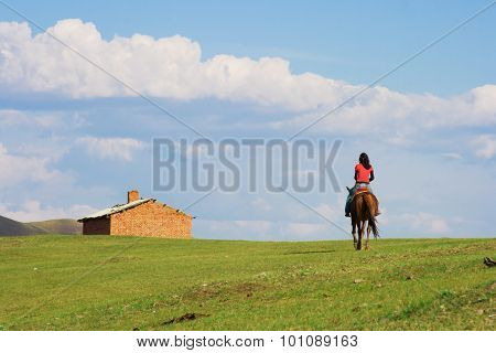 Girl Ridding Horse