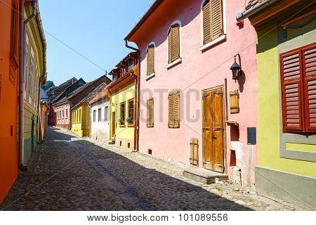 Medieval Street View In Sighisoara, Romania