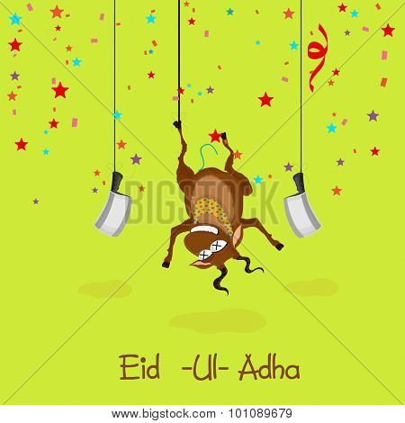 Illustration of hanging goat with choppers on colorful stars decorated green background for Islamic Festival of Sacrifice, Eid-Ul-Adha celebration.