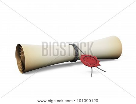 Scroll With The Seal On A White