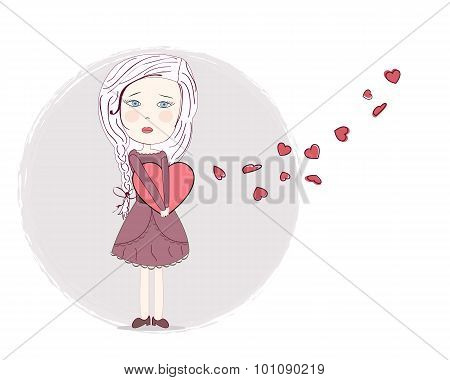 Heart broken sad girl art vector background