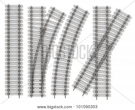 Set Of Elements Of Rails Isolated On White Background