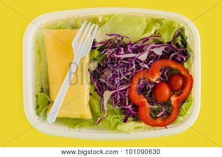 Salad Background / Salad / Salad On Yellow Background