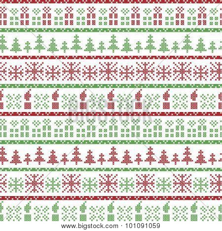 Green and red Christmas Nordic pattern in including  Xmas gifts, candles, snowflakes, stars, decorat