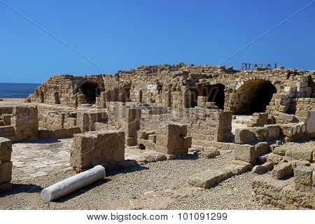 Ruins Of Ancient Buildings In Caesarea