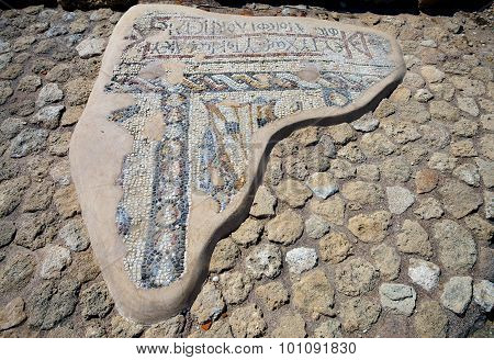 Large Fragment Of Mosaic In Caesarea