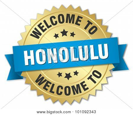 Honolulu 3D Gold Badge With Blue Ribbon