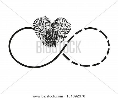 Eternity with finger print heart vector