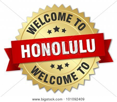 Honolulu 3D Gold Badge With Red Ribbon