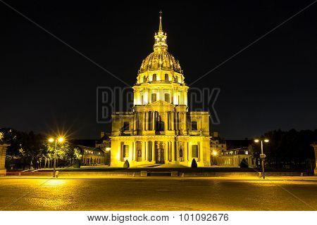 The Museum Of Invalides At Night, Paris.