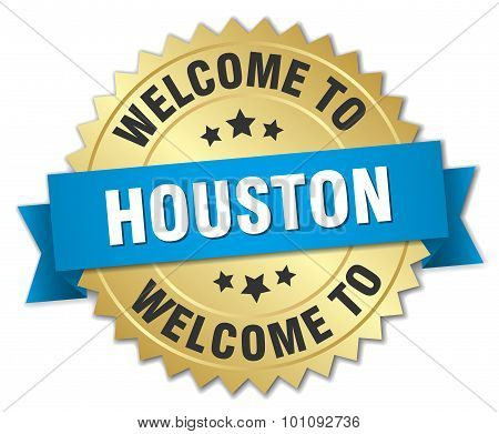Houston 3D Gold Badge With Blue Ribbon