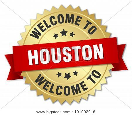 Houston 3D Gold Badge With Red Ribbon