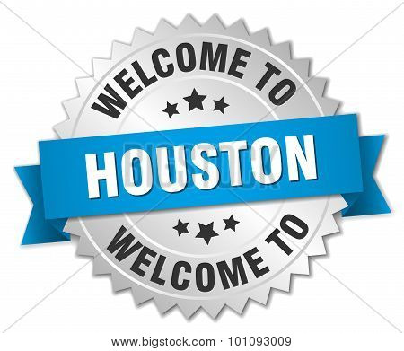 Houston 3D Silver Badge With Blue Ribbon