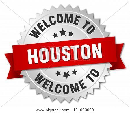 Houston 3D Silver Badge With Red Ribbon
