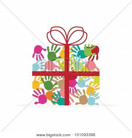 Gift box with colorful baby hand prints vector