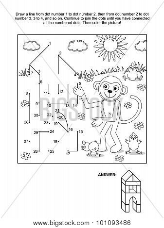 Dot-to-dot and coloring page - monkey the builder