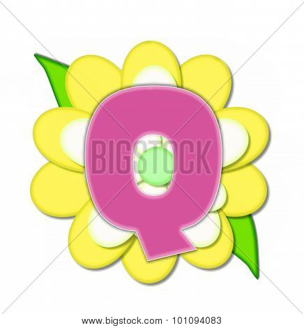 Alphabet Flower Pin Yellow Q