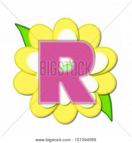 Alphabet Flower Pin Yellow R