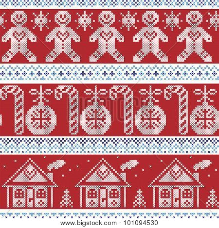 Dark blue, light blue and red Scandinavian nordic seamless pattern with gingerbread man, xmas candy