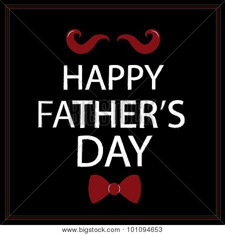 Happy Father's Day card with bow tie and mustache vector