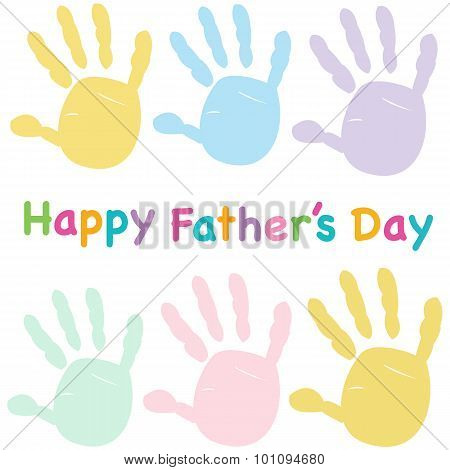 Happy Father's Day Kids Handprint Greeting Card