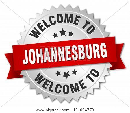 Johannesburg 3D Silver Badge With Red Ribbon