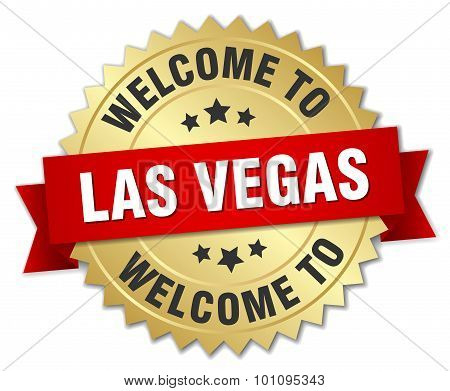 Las Vegas 3D Gold Badge With Red Ribbon