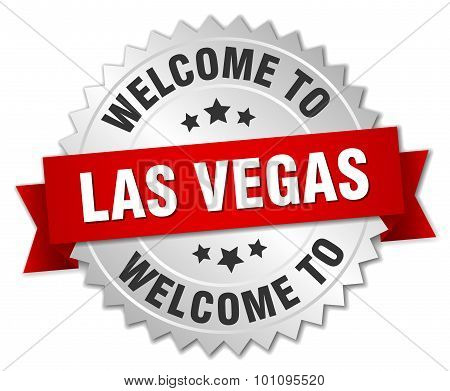 Las Vegas 3D Silver Badge With Red Ribbon